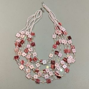 Multi Strand Pink Love Beads & Squares Necklace